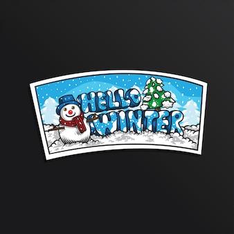 Sneeuwman hello winter illustratie sticker