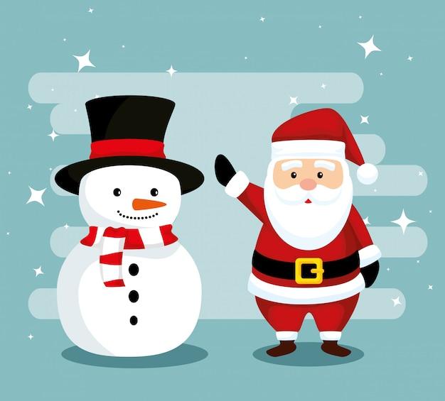 Sneeuwman hoed en sjaal dragen met santa claus