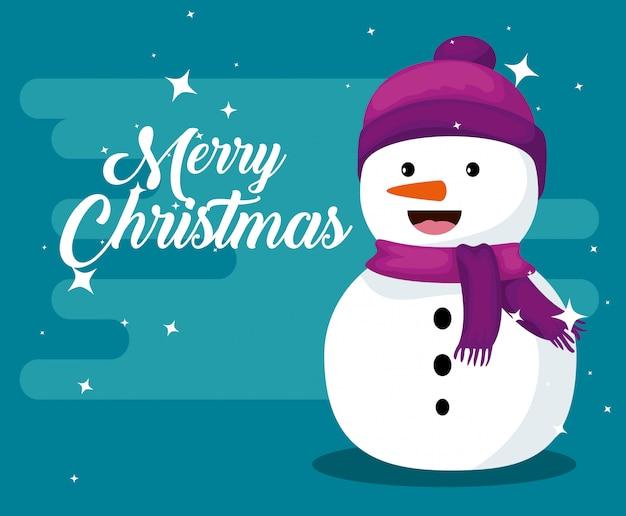 Sneeuwman met hoed en sjaal om kerstmis te vieren