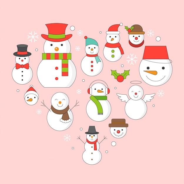 Sneeuwmanpictogram op achtergrond voor kerstmisvakantie