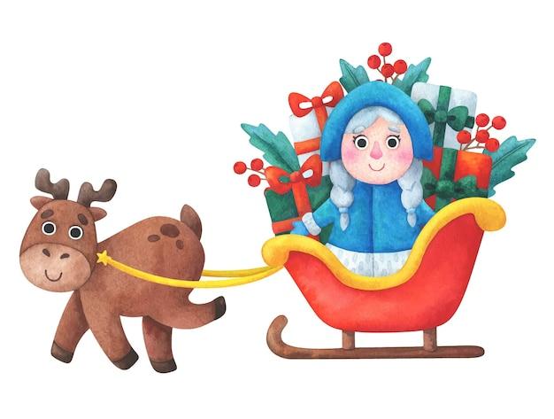 Sneeuwmeisje draagt geschenken in een slee met een hert. kerst samenstelling