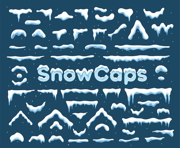 Sneeuwmuts met afbeelding van ijspegelversiering. winterdecoratie-element met sneeuwstapel en ijspegels.