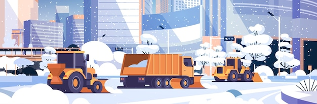 Sneeuwploeg vrachtwagen en tractoren schoonmaken besneeuwde weg winter straat sneeuwruimen concept moderne stad gebouwen stadsgezicht vlak en horizontaal vector illustratie