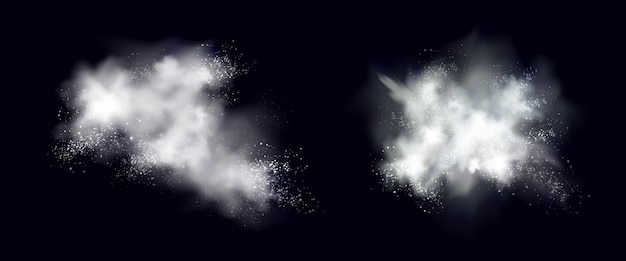 Sneeuwpoeder witte explosie, ijs of sneeuwvlokken spatten wolken