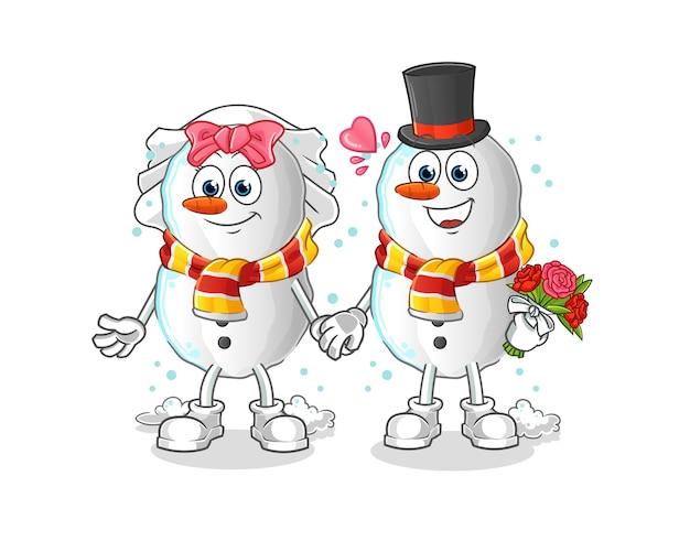 Sneeuwpop bruiloft cartoon cartoon mascotte