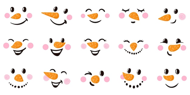 Sneeuwpop cartoon gezichten grappige gezichten met verschillende emoties kerstvakantie sneeuwpop emoticons vector