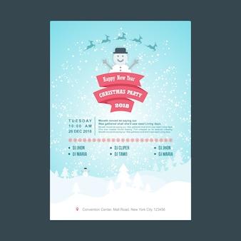 Sneeuwpop christmas party poster met pastel kleuren