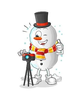 Sneeuwpop fotograaf karakter cartoon mascotte
