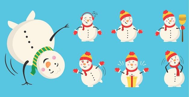 Sneeuwpop goochelaar met snoep en geschenken winter buitenactiviteit voor kinderen winter en kerst