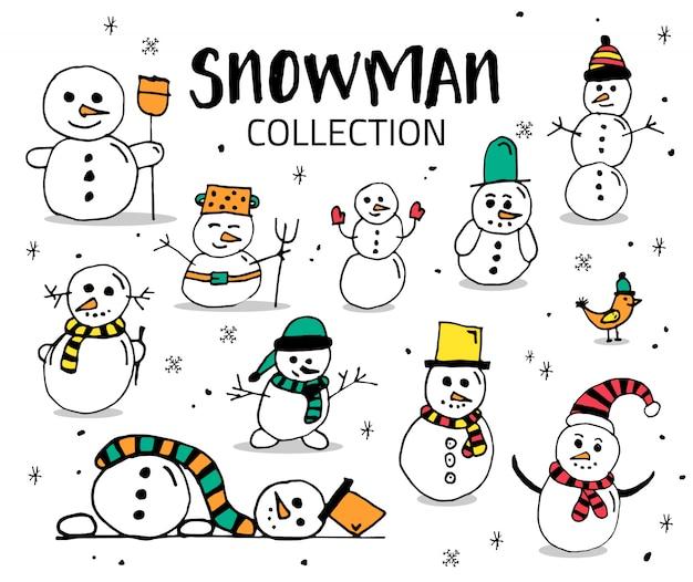 Sneeuwpop hand tekenen collectie