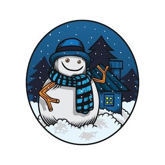Sneeuwpop helo winter illustratie