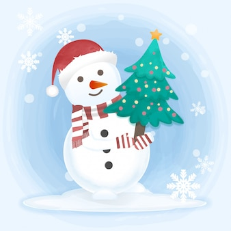 Sneeuwpop houden pijnboom hand getrokken illustratie
