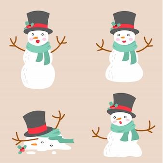 Sneeuwpop illustratie doodle
