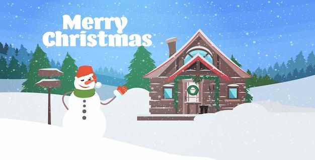 Sneeuwpop in de buurt van de wintersneeuw bedekt houten huis in dennenbos vrolijke kerstmis gelukkig nieuwjaar vakantie viering concept landschap illustratie