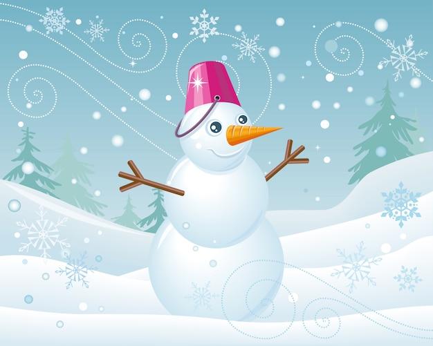 Sneeuwpop in roze emmer op kerstmis landschap