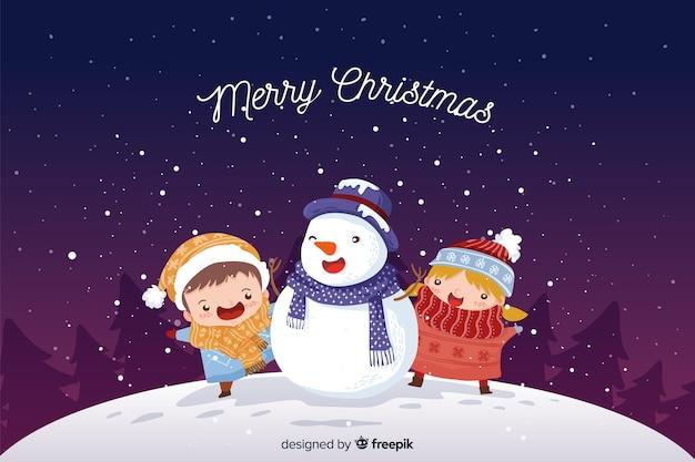 Sneeuwpop kerst achtergrond