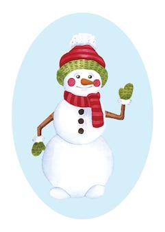 Sneeuwpop kerst aquarel illustratie