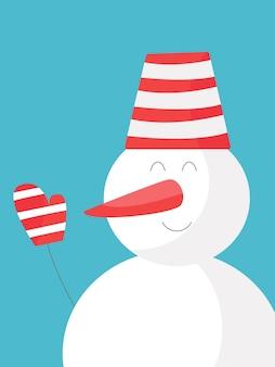 Sneeuwpop kerstkaart. leuk winterkarakter. ontwerpsjabloon voor nieuwjaarskaarten, een zoet cadeau inpakken. feestelijke poster, affiche, flyer. vectorillustratie, plat