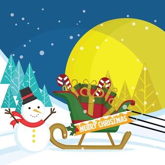 Sneeuwpop met een slee vol cadeautjes bij nachtscène