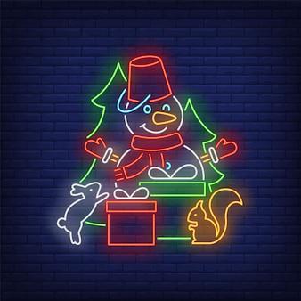 Sneeuwpop met geschenkdozen, eekhoorns, sparren in neon-stijl