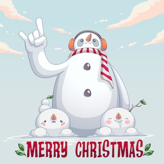 Sneeuwpop monster schattig karakter
