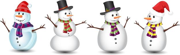 Sneeuwpop set kerst collectie illustratie