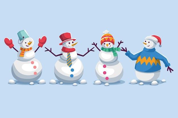 Sneeuwpop-tekencollectie in plat ontwerp
