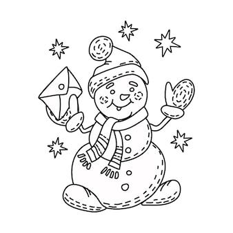 Sneeuwpop vectorillustratie in stijl omtrekkerst kleurboek