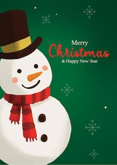 Sneeuwpop vrolijk kerstfeest achtergrond