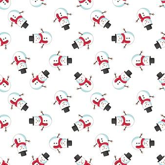 Sneeuwpop vrolijk kerstpatroon