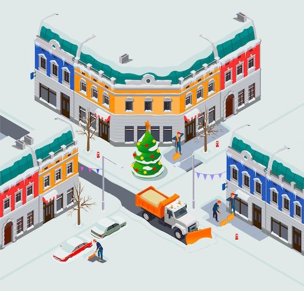 Sneeuwreinigingsmachines isometrische samenstelling met uitzicht op het kruispunt van de stad met huizen, auto's en vrachtwagenillustratie