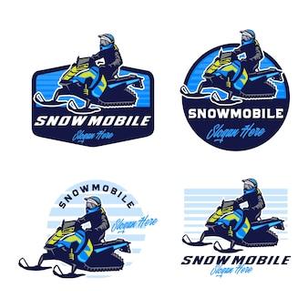 Sneeuwscooter logo ontwerpsjabloon