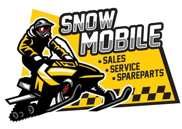 Sneeuwscooter winkel en garage logo-ontwerp