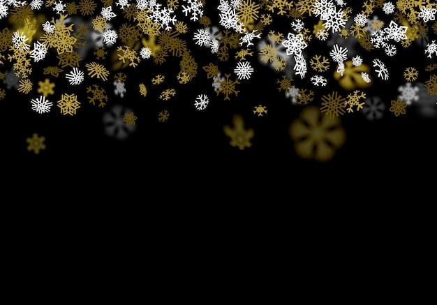 Sneeuwval achtergrond met gouden sneeuwvlokken wazig in het donker
