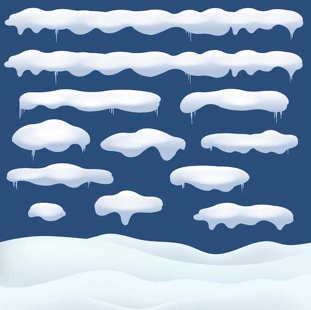 Sneeuwval een verschillende vormen en vormen met sneeuwvlok