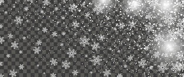 Sneeuwval en vallende sneeuwvlokken op transparante achtergrond. witte sneeuwvlokken en kerstsneeuw. vector illustratie