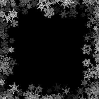 Sneeuwval frame met willekeurige sneeuwvlokken op de donkere achtergrond