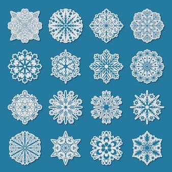 Sneeuwvlok iconen set.