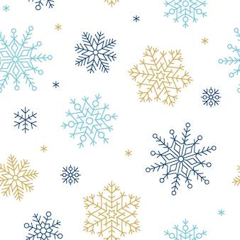 Sneeuwvlok naadloze patroon vectorillustratie winter achtergrond herhalen ornament met sneeuwvlokken