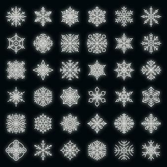 Sneeuwvlok pictogrammen instellen. overzichtsreeks sneeuwvlok vectorpictogrammen neonkleur op zwart