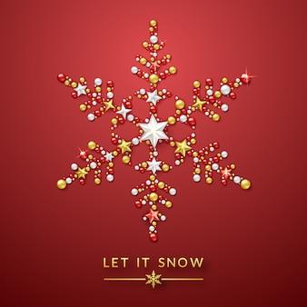 Sneeuwvlokachtergrond met glanzende sterren, boog en kleurrijke ballen