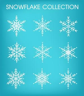 Sneeuwvlokken collectie ingesteld voor eerste kerstdag