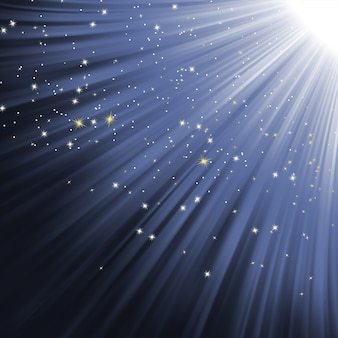 Sneeuwvlokken en sterren op pad van licht.