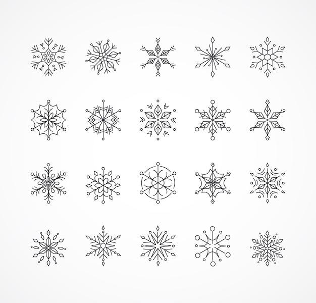 Sneeuwvlokken, geometrische lijntekeningen kerst ornamenten, patroon en achtergrond