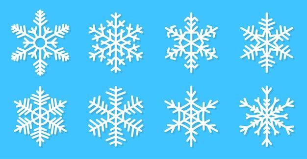 Sneeuwvlokken instellen pictogram. winter ijskristal, vorst sneeuw. decoratie voor nieuwjaar of kerstkaart