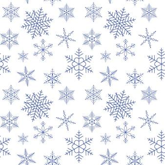 Sneeuwvlokken naadloos patroon kerstmis eindeloze achtergrond sneeuwval herhaalde achtergrond