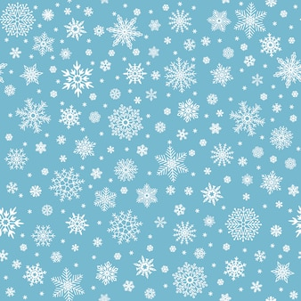 Sneeuwvlokken naadloos patroon. winter sneeuw vlok sterren, vallende vlokken sneeuw en gesneeuwde sneeuwval