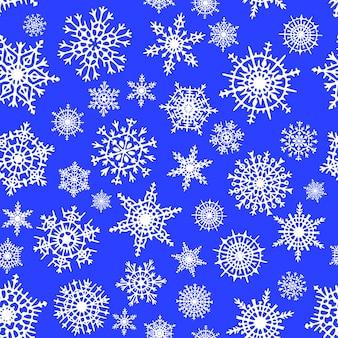 Sneeuwvlokken naadloos patroon, winter vector achtergrond
