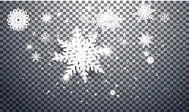 Sneeuwvlokken ontwerpen voor de winter met plaats tekst ruimte. abstract papier ambachtelijke sneeuwvlokken