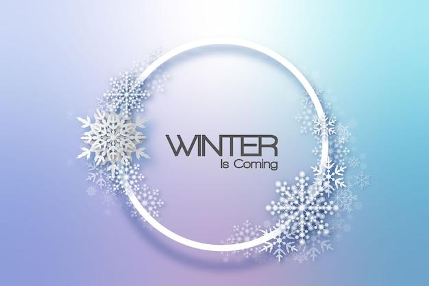 Sneeuwvlokken vakantie frame. winter kerstkaart voor web, banner, uitnodiging, folder enzovoort. kerst achtergrond.